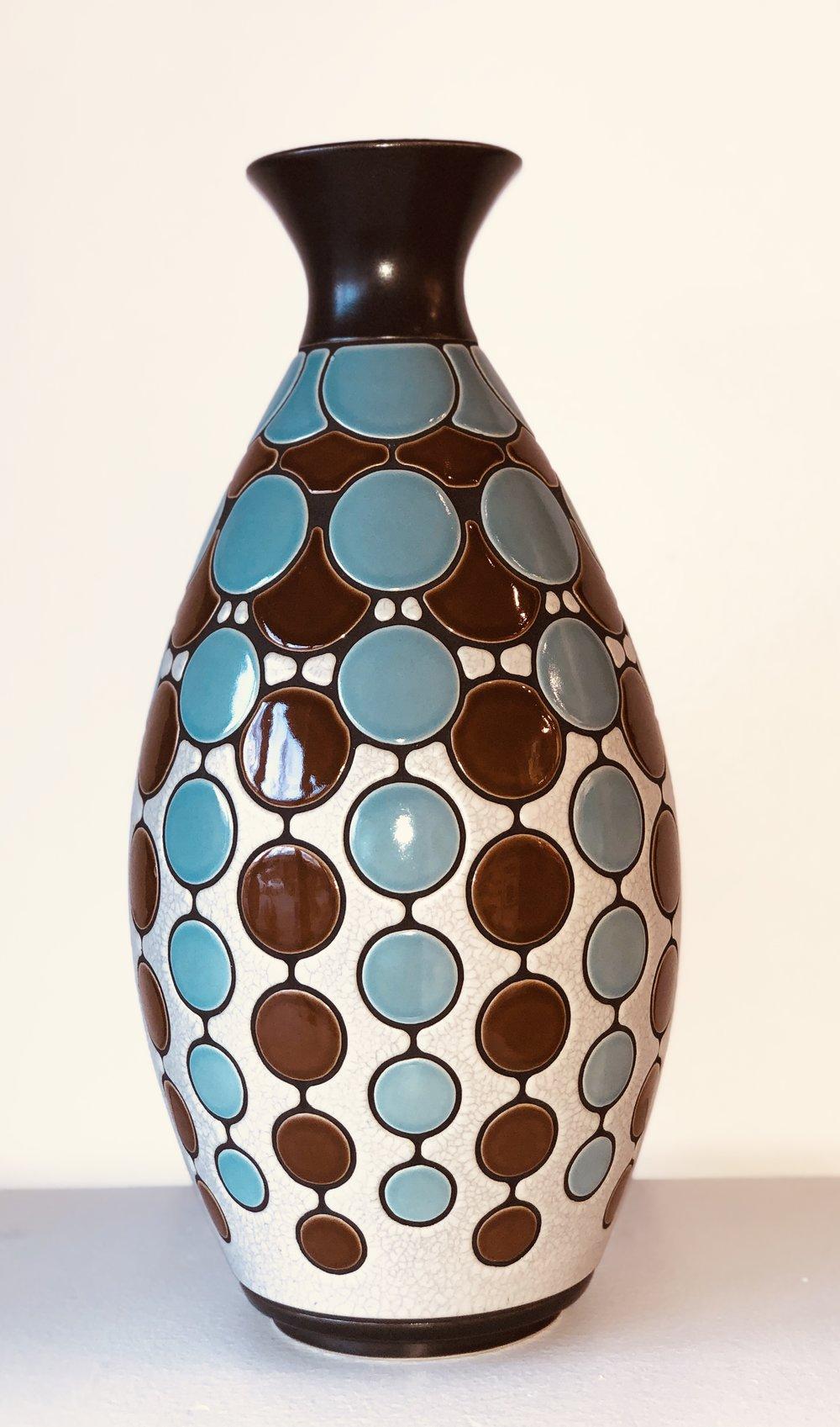 Blue, Brown, White Vase