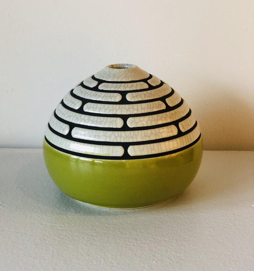 Striped Bud Vase in Green
