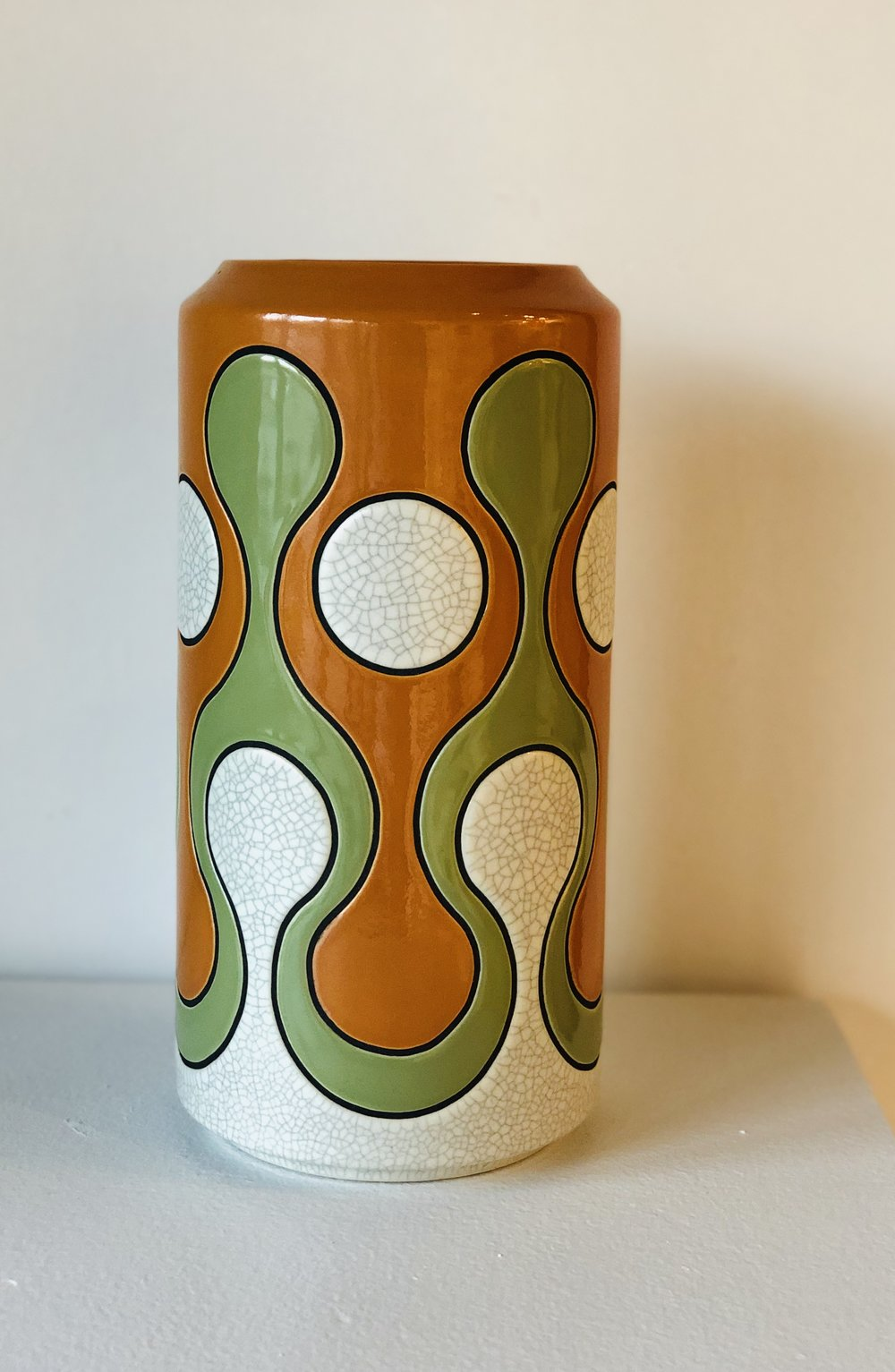Green, Orange, & White Tall Vase