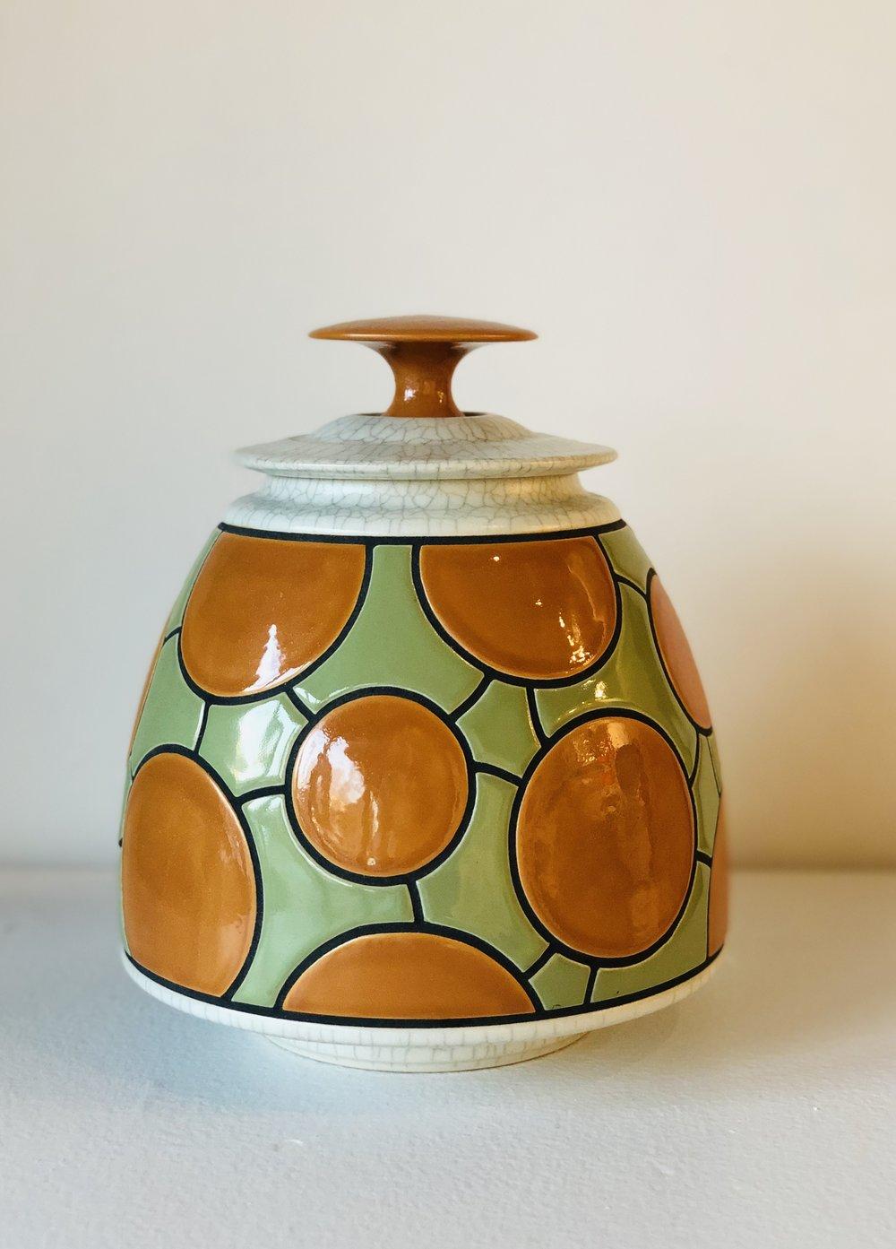 Green, Orange, & White Jar