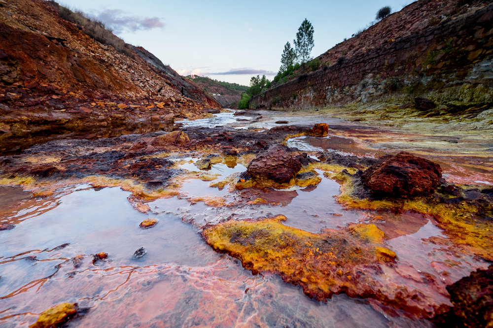 The Rio Tinto River in Spain, showing the effects of acidification after years of copper mining