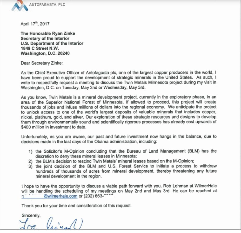 Letter from the CEO of Antofagasta to Ryan Zinke