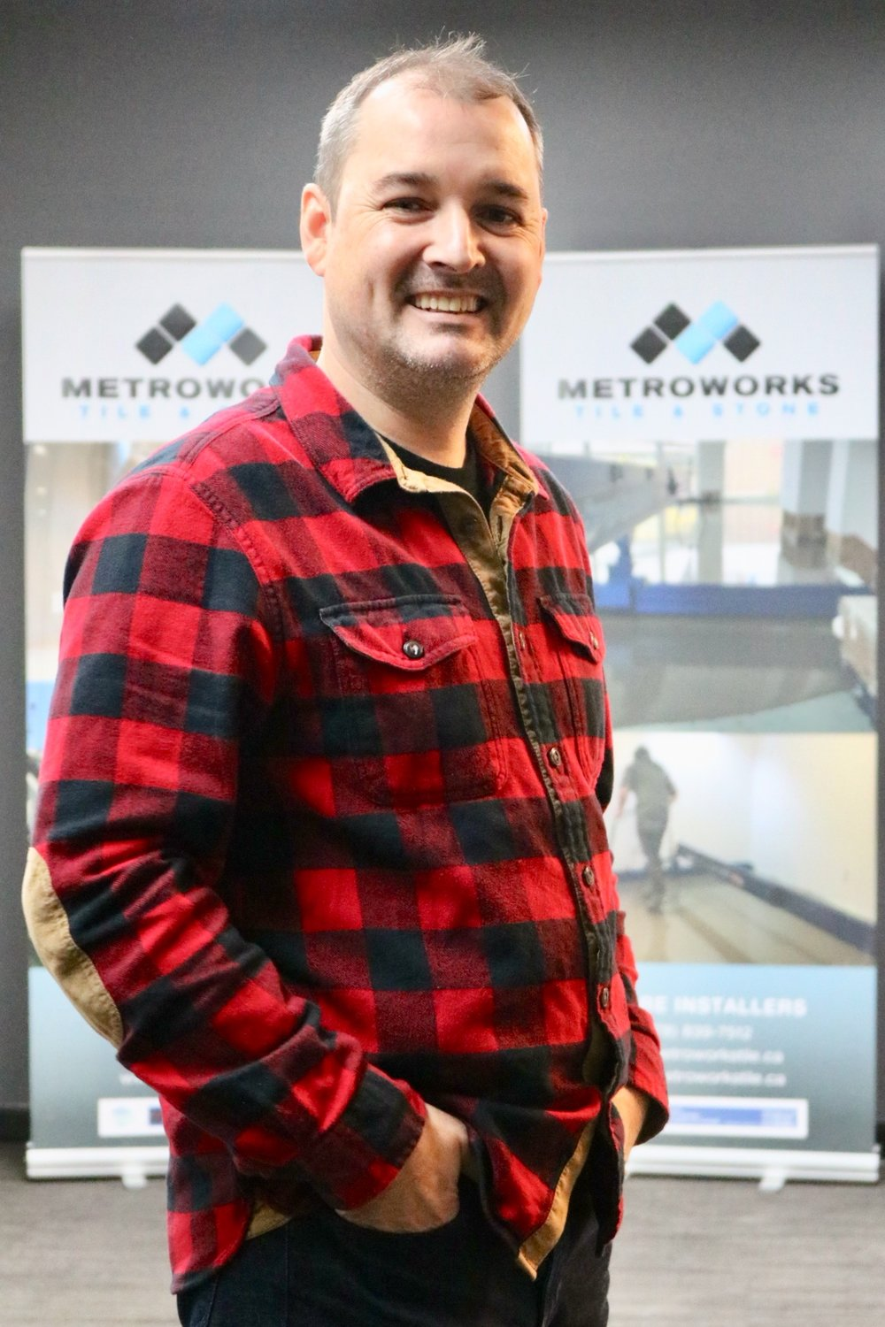 Shawn - Managing DirectorWhen Shawn became a tile setter, he knew that developing his skills and continuing to learn about the trade is the only way to deliver high-quality work, in which he can take pride. Shawn started Metroworks in Ontario, where he is from originally. A few years later he moved to the West Coast and established his company here. Metroworks quickly grew from a one-person operation to a small tiling crew, and then to the company it is today. Shawn's growth mindset leads Metroworks Group into being a modern company providing high-quality craftsmanship, excellent customer service, and continuous professional development for its team.Shawn is passionate about youth sports and Metroworks currently sponsors a youth girls hockey team in his home town of Sault Ste. Marie. He and his spouse Teddy encourage their sons to be active and participate in sports and community events all-year round. On weekends and evening you'd find Shawn and his family on the local ski hills, camping in the summer, and staying active with their local Scouts group.Email Shawn