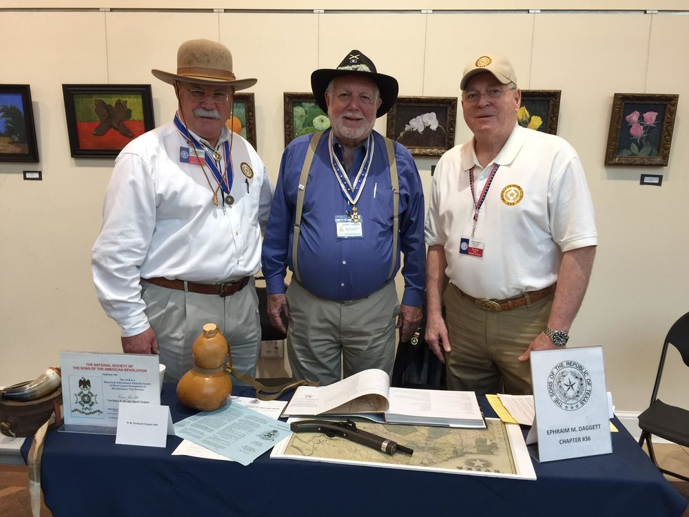 HatDoc Chris Hull, Gerry Gieger and Mike Edwards manned the table for the SRT Chapter #36 at the Heritage Fair held at the Fort Worth Central Library on Saturday, October 20th, 2018.