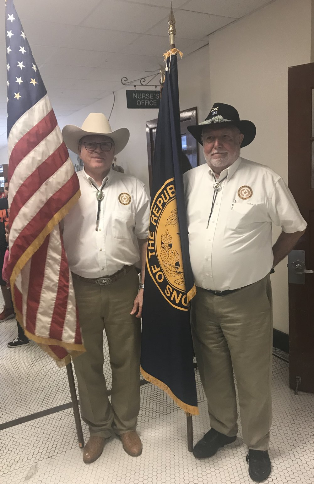 Mike Edwards and Gerry Gieger carried the US and SRT Chapter Flags in the ceremony for Military Order of World Wars MOWW on November 4th, 2018 in Fort Worth.