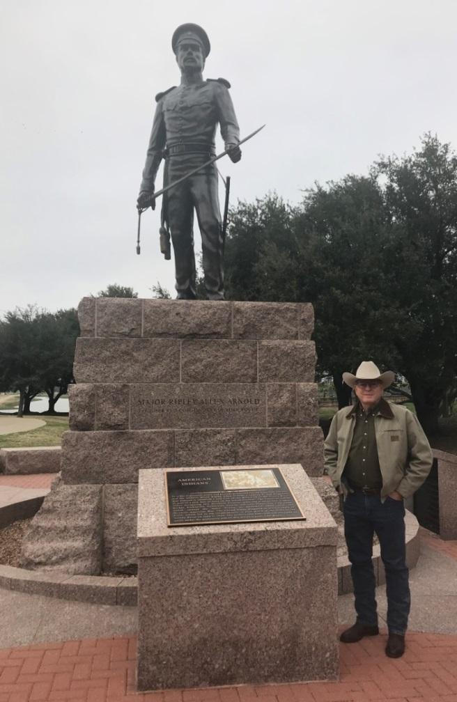 Chapter President, Mike Edwards, visiting the monument of Maj. Ripley Allen Arnold, which was erected in the John V. McMillan Plaza at the North end of Taylor Street in Heritage Park, overlooking the ridge where Camp Worth was built. - January 13th, 2019