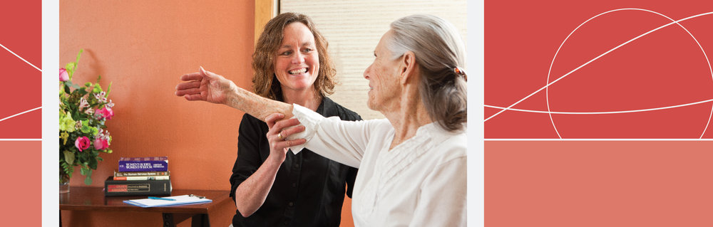Physical therapist Joy Backstrum, PT, PRC works with a patient.