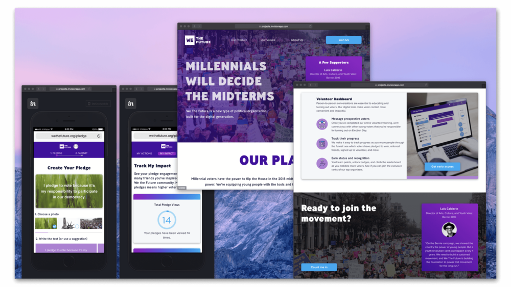 WE THE FUTURE - 2017https://invis.io/C8SWHPOJ5X2Problem: How can technology help increase millennial voter turnout and ultimately resist Trump's agenda?My role: Product design, comp/comp research, diagramming, product strategy, sketching, lo-fi wireframing, hi-fi prototyping, branding, iconography, logo design
