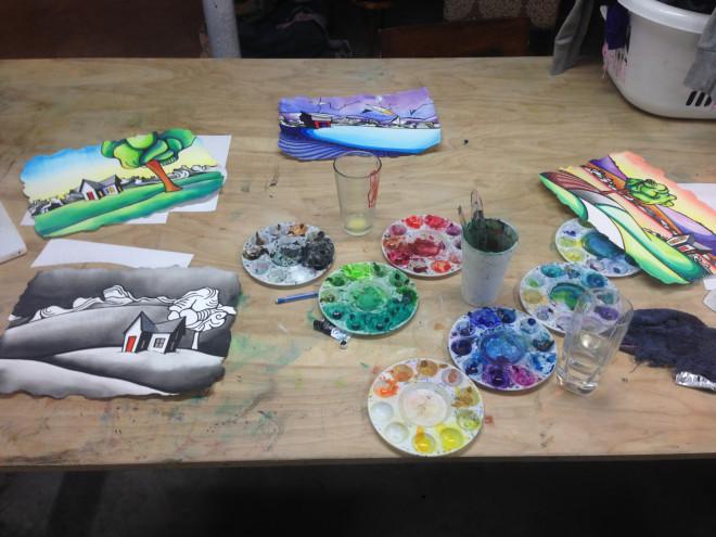 basement studio watercolors