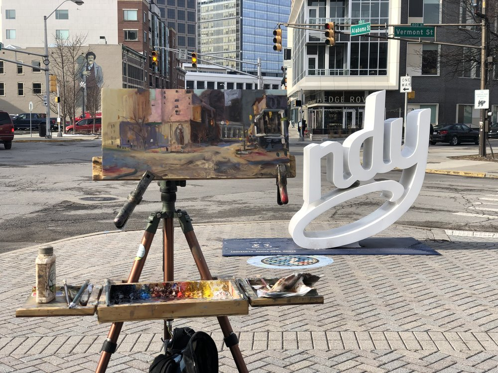 For the last three years, I have painted a plein air painting the morning of my show and displayed it wet that evening at the opening