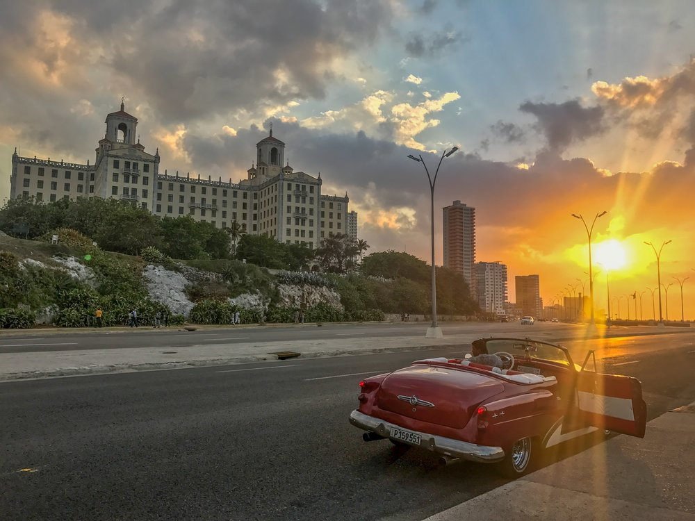 hotel car havana sunset.JPG