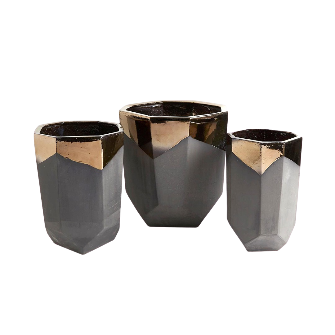 Faceted Banded Bronze Container — Bella Moda   Home ...