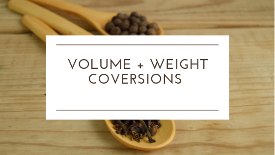 """Measurement Conversions - 8.5""""x11"""" Printable sheet for quick volume and weight measurements"""