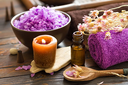 Lavender Bliss - Enjoy a relaxation massage with lavender infused massage oil, followed by a lavender sugar scrub and hot stone facial75 Minute Treatment $65
