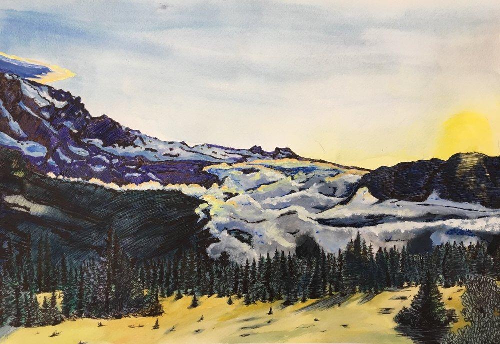 Mt. Rainier at Sunset