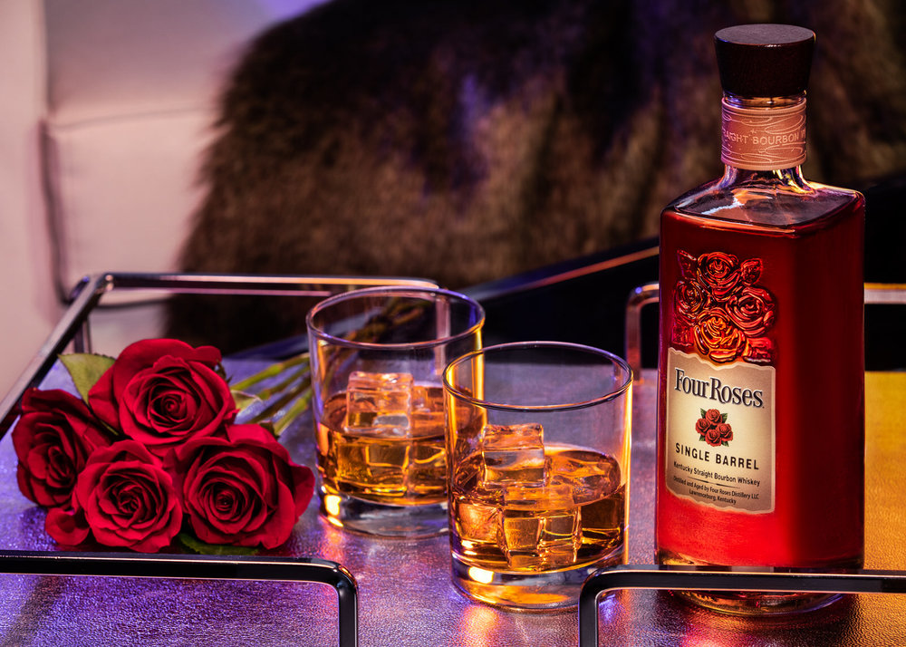 Nashville product photographer & stylist team made this image for Four Roses Bourbon