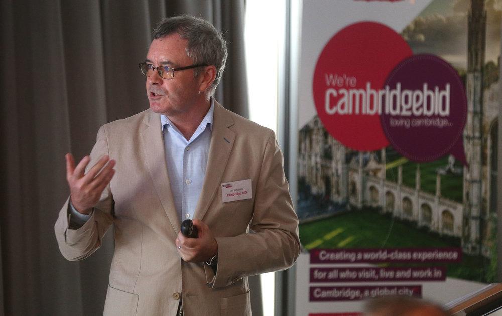 Ian Sandison, CEO of Cambridge BID, speaking at AGM 2018