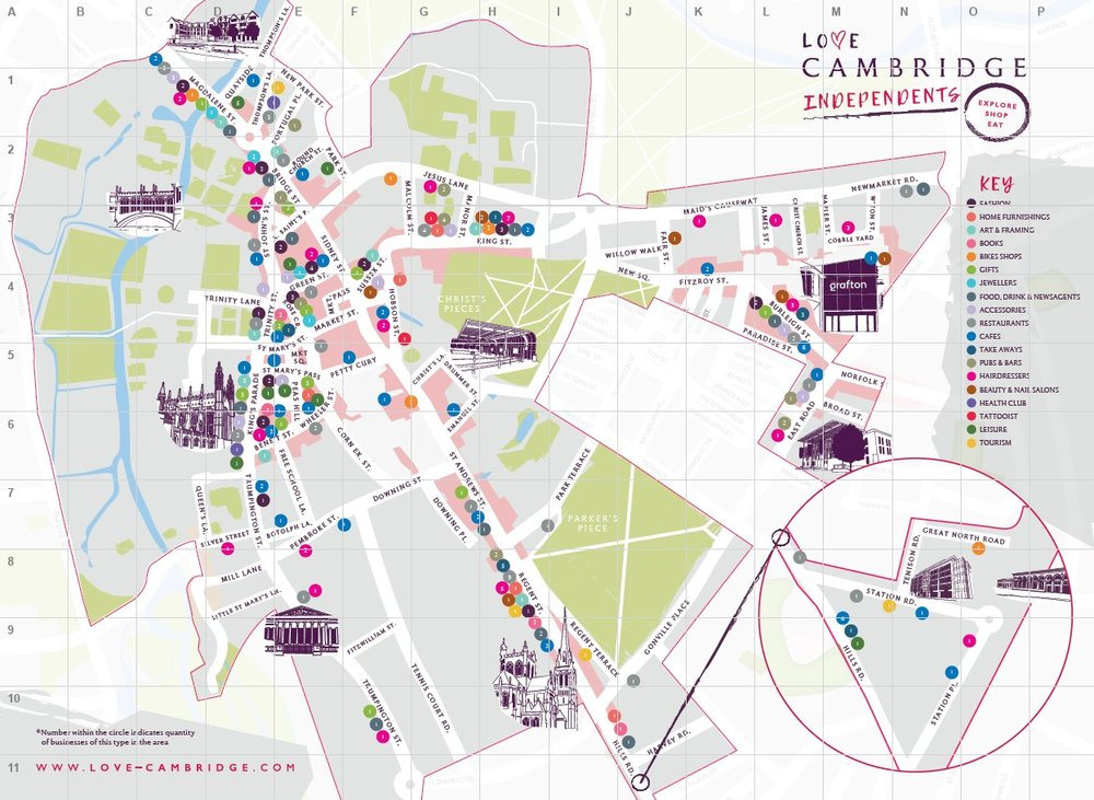 Love Cambridge Independents Map - Explore and find your new favourite independent in Cambridge with this new tailored map. Featuring fashion, books, food & drinks, beauty, leisure and much more!
