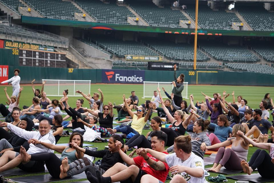 Image from 2018 Oakland A's Yoga Day.