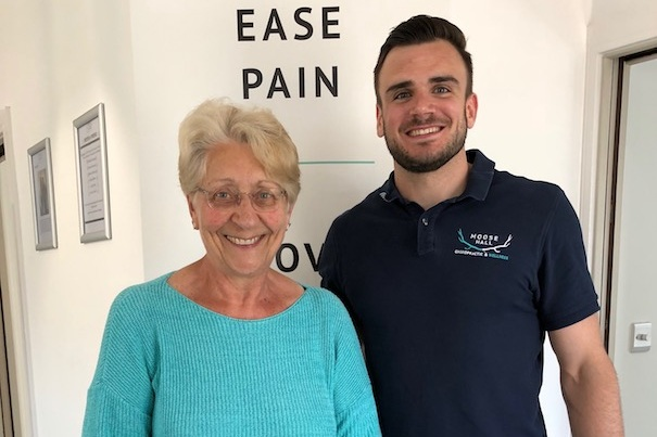 """""""the treatment with matt has made walking a lot easier"""" - """"It has been great coming to Moose Hall. The treatment with Matt has made walking a lot easier and kept me upright.""""- DONNA"""