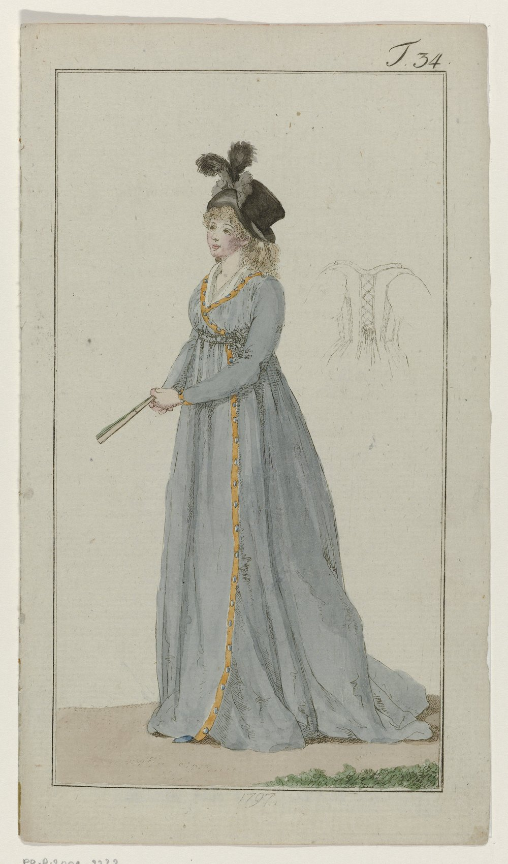 Journal des Luxus und der Moden, 1797, T 34, Georg Melchior Kraus, 1797 - I love this early style dress. The color and the way it closes. I also love the hate. basically everything about this I love. I also assume it laces inside the back to tighten?