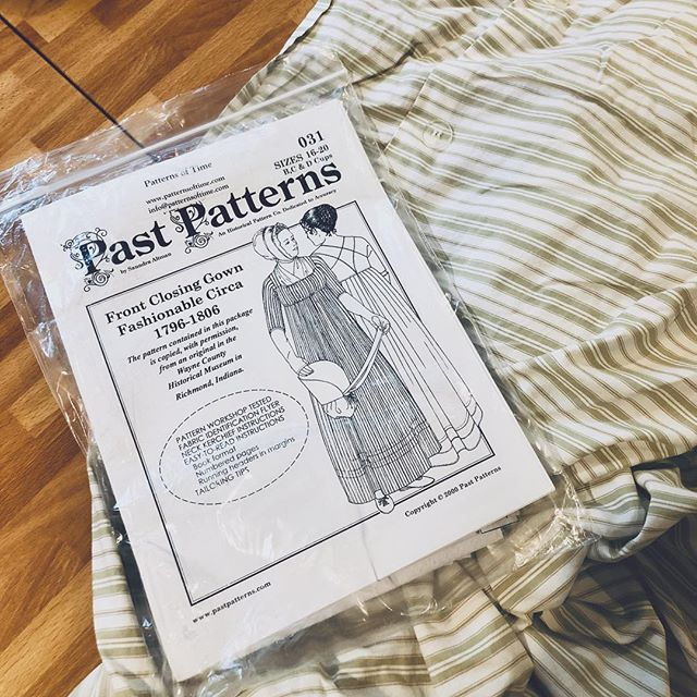 Next project. I'm turning this #thriftstorefind duvet into this #pastpatterns regency dress as a mock up. #regency #regencydress #regencyfashion #1800s  #1800 #historicaldress #historicalfashion #historicaldress #janeausten