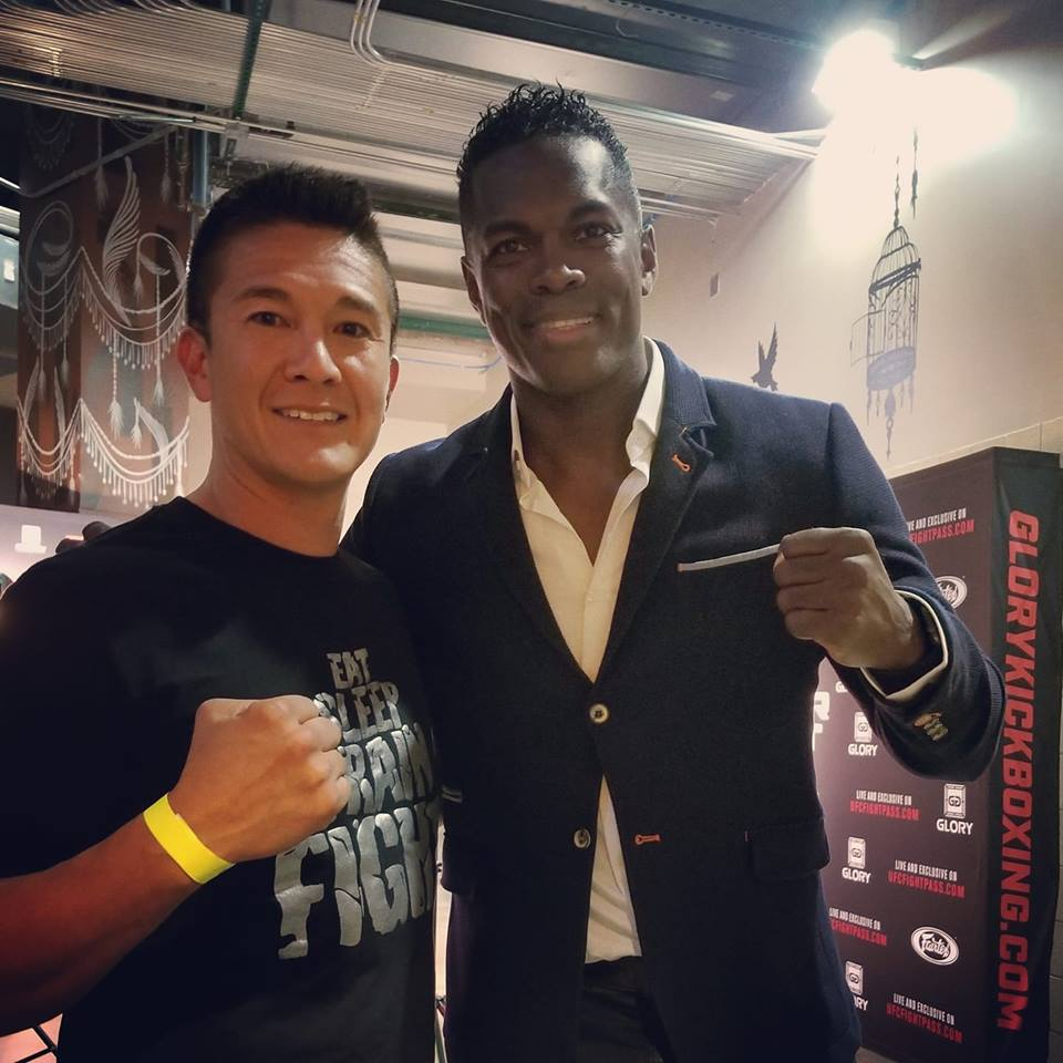 Mark Greubel, coaching at Glory 56 Denver Colorado. Pictured with The Flying Dutchman, Remy Bonjansky!