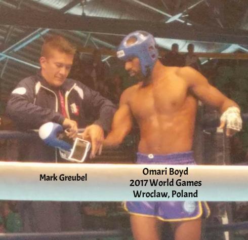 Mark Greubel w/GLORY Kickboxer, Omari Boyd in the 2017 World Games!