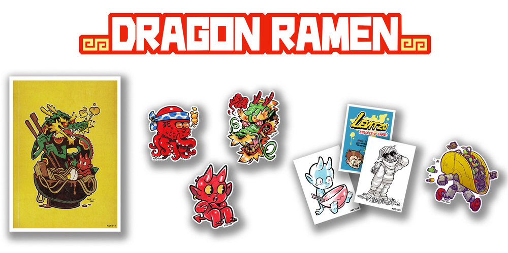 """FEATURED ARTIST:  LEVI PREWITT   CONTAINS: ADC-006: たこ焼き STICKER (3""""), ADC-007: DRAGON STICKER (4""""), ADC-008: (un)HOLY RAMEN STICKER (3.5""""), ADC-009: NOODLEBOY COLLECT-O-CARD (3.5"""" X 2.5""""), ADC-010: SAD DEMON COLLECT-O-CARD (3.5"""" X 2.5""""), ADC-011: DRAGON RAMEN PRINT (7.5"""" X 10.5""""), ADC-060: TACO-BOT (2 of 3 FOOD-BOT STICKERS)  +1 DROP WILL CONTAIN A PIECE OF ORIGINAL ART BY  LEVI PREWITT"""