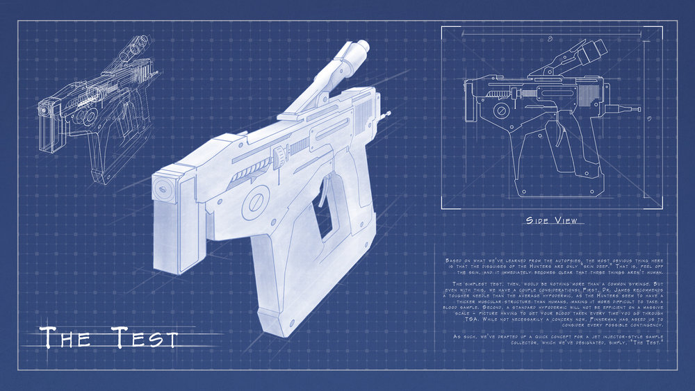 Blue print for a medical device used to test humans for alien life.