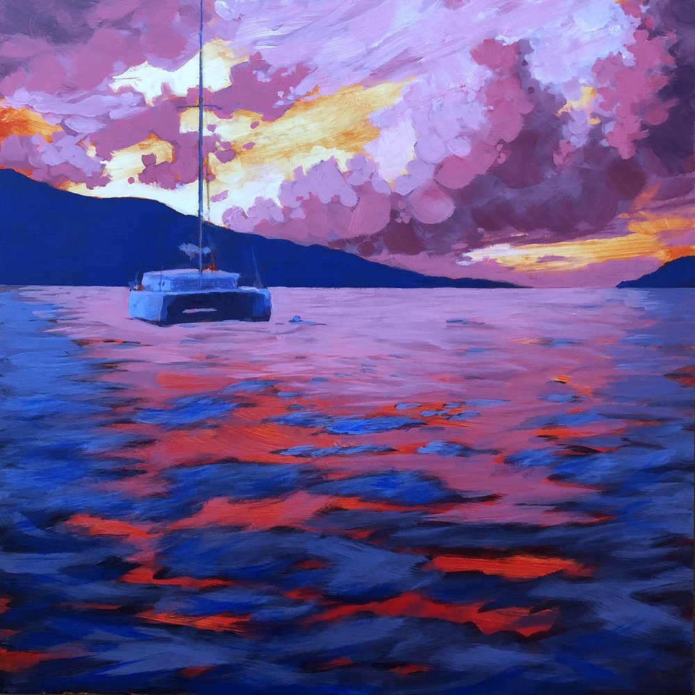 At Anchor,  acrylic painting   by Jim Musil (USA)