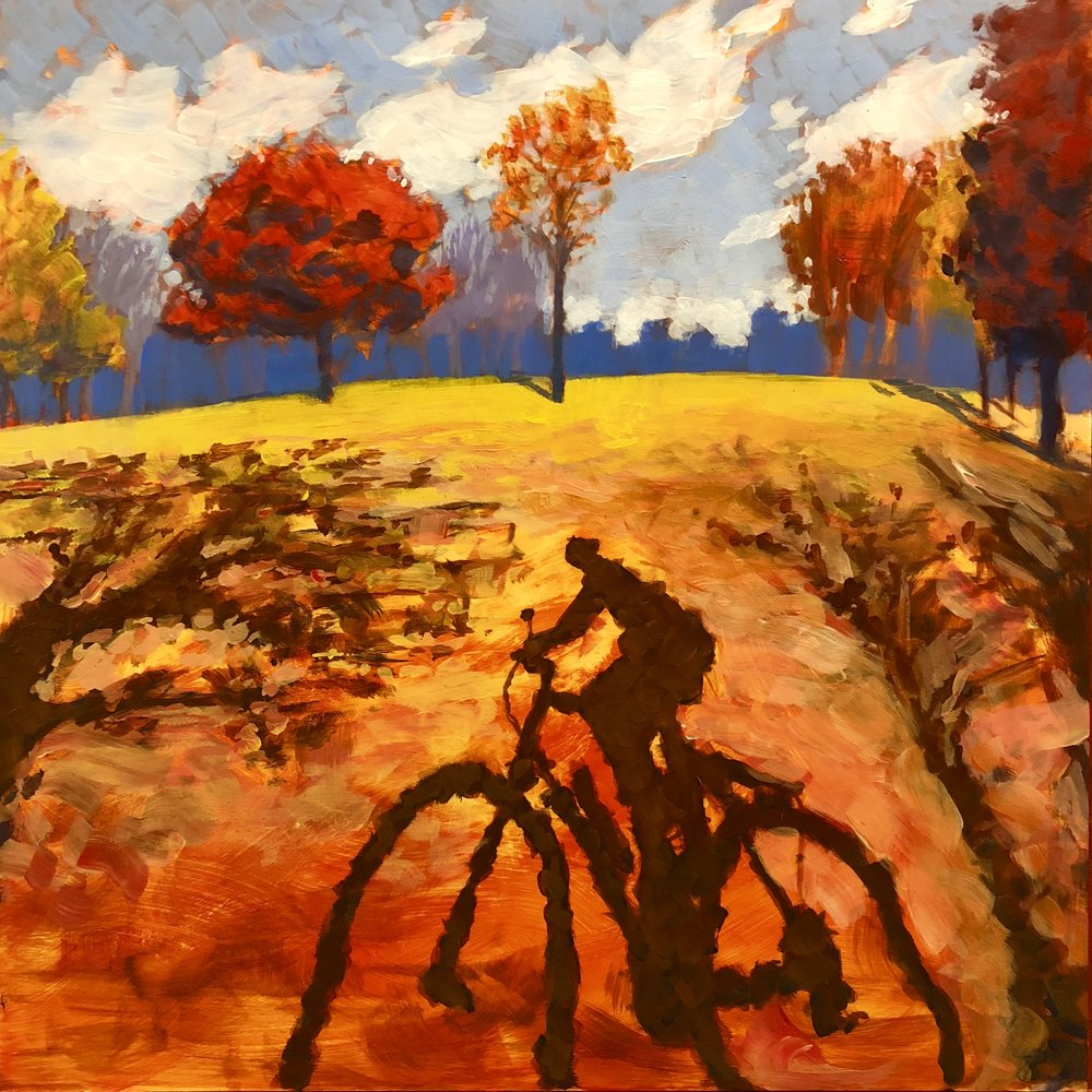 Bicycle Shadow,  acrylic painting   by Jim Musil (USA)