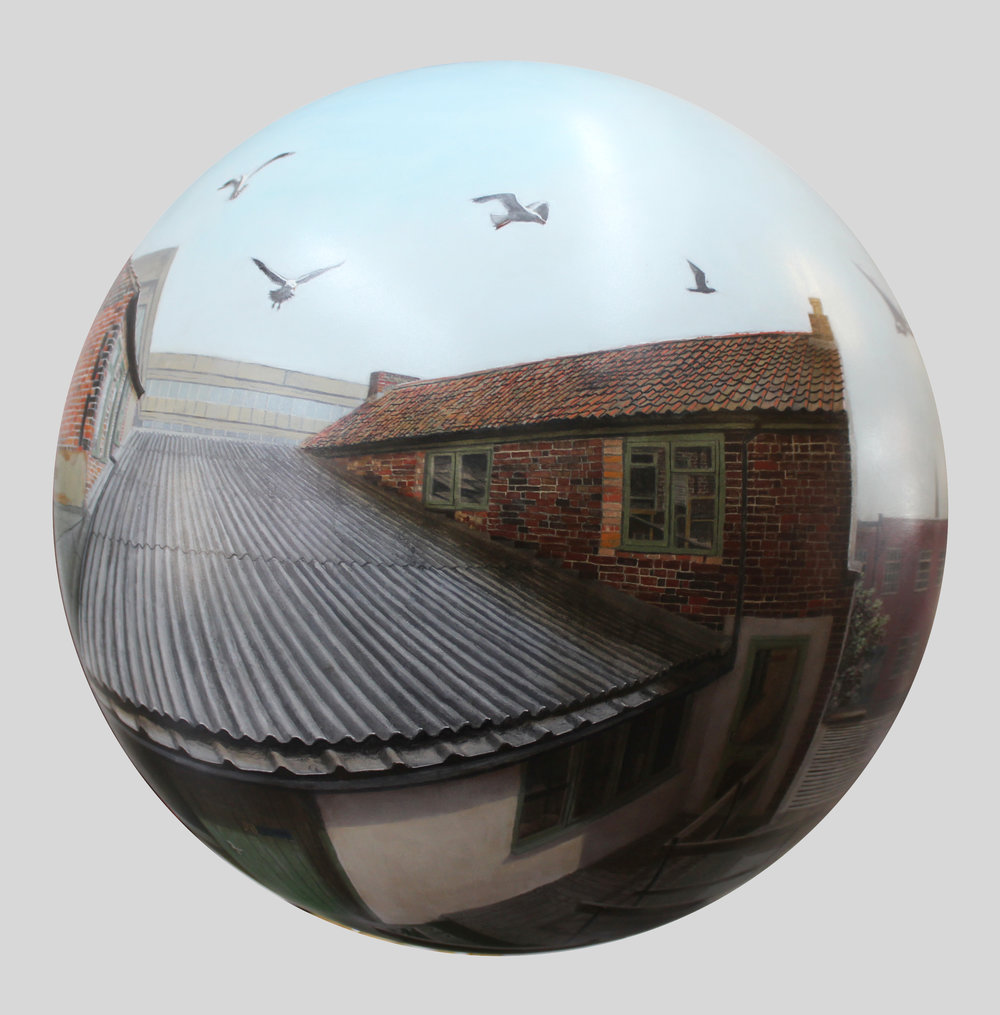 Muspole Workshops,  painted acrylic sphere   by Will Teather (Norwich, UK)