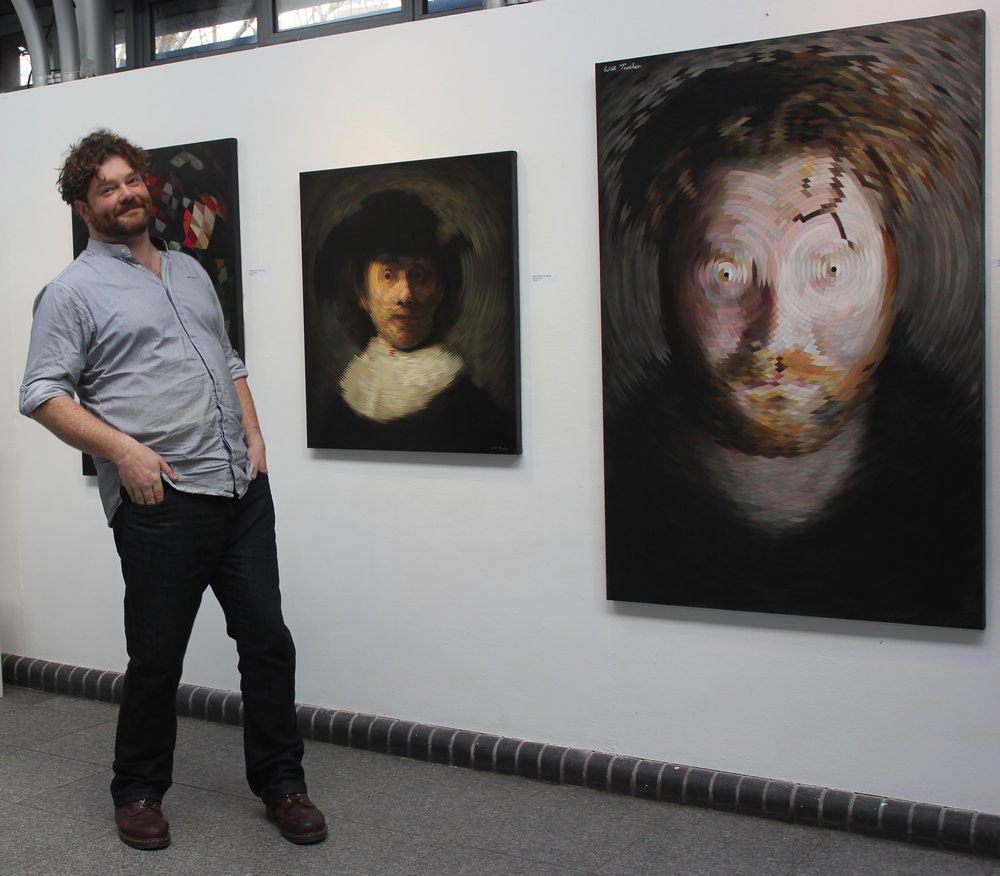 Will Teather with his radial paintings.jpg