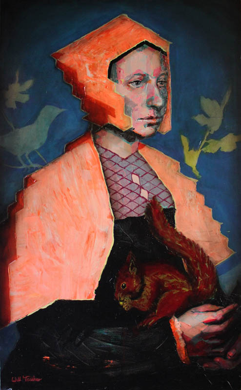 A Lady with a Squirrel and a Starling (after Holbien)  - Oil on canvas - 162 x 100cm - £4750
