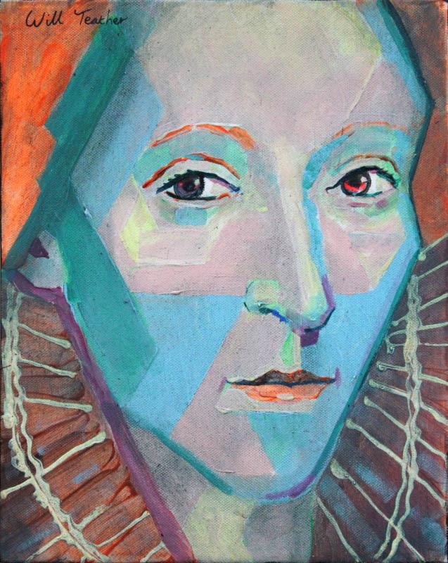 Elizabeth 1 (after British School)  - Oil on canvas - 28 x 35.5cm - £375