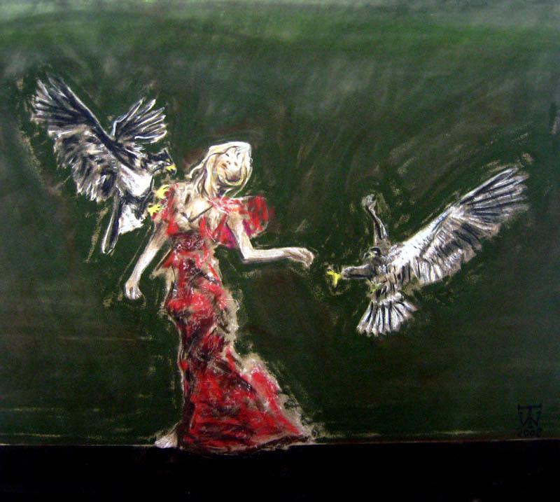 The Birds  - Chalk Pastel on Velour - 45 x 50cm - £675