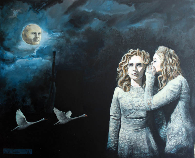 The Moon has Lost his memory  - Acrylic on panel in ornate gilt frame - 50 x 40cm approx - £2750