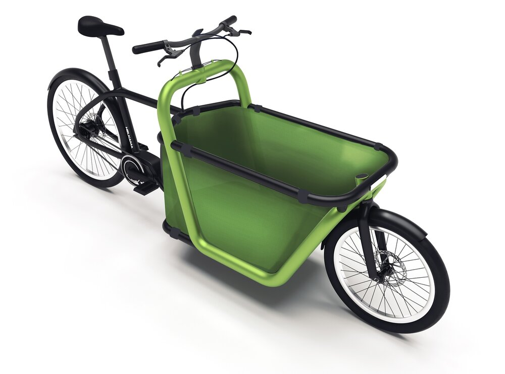 The concept allows for more cargo space than the conventional Long John –cargo bike by using cable steering and utilizing the space under the handlebars.