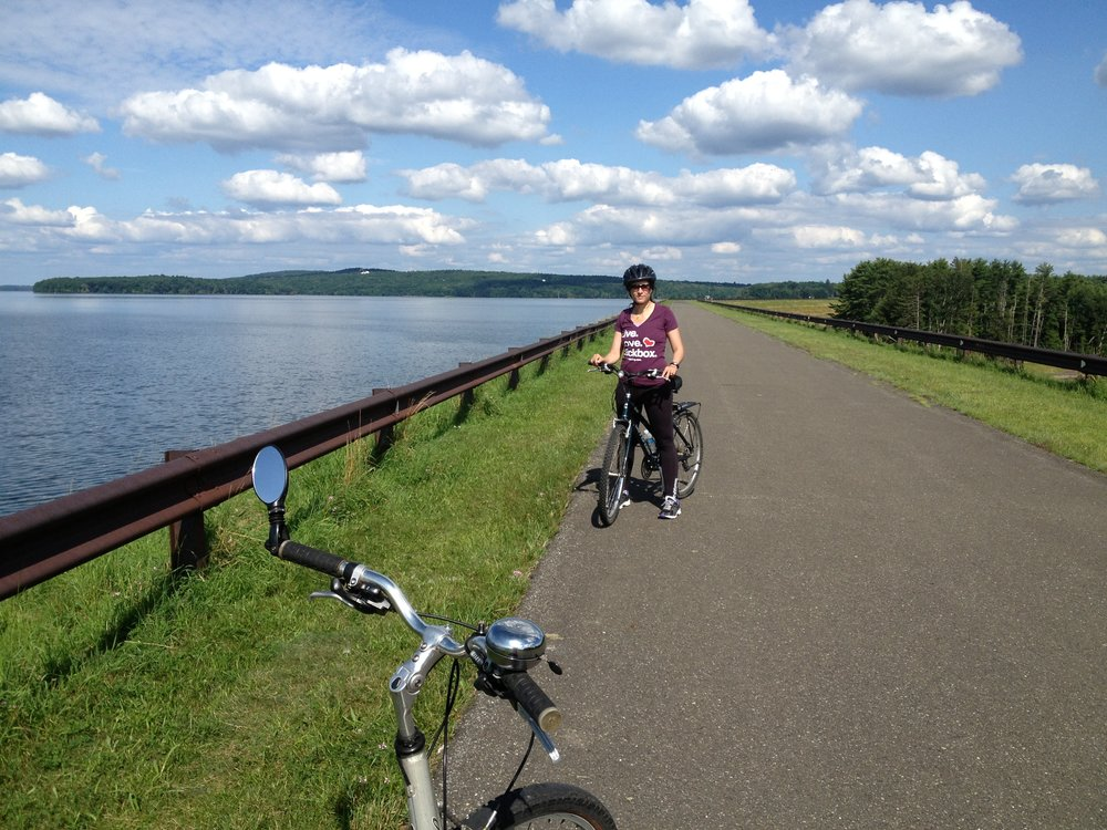 Ashokan Reservoir  - Plenty of places to bike, walk, skate around the reservoir. Dogs not allowed.  GPS: 27 B W S Rd, Kingston, NY 12401