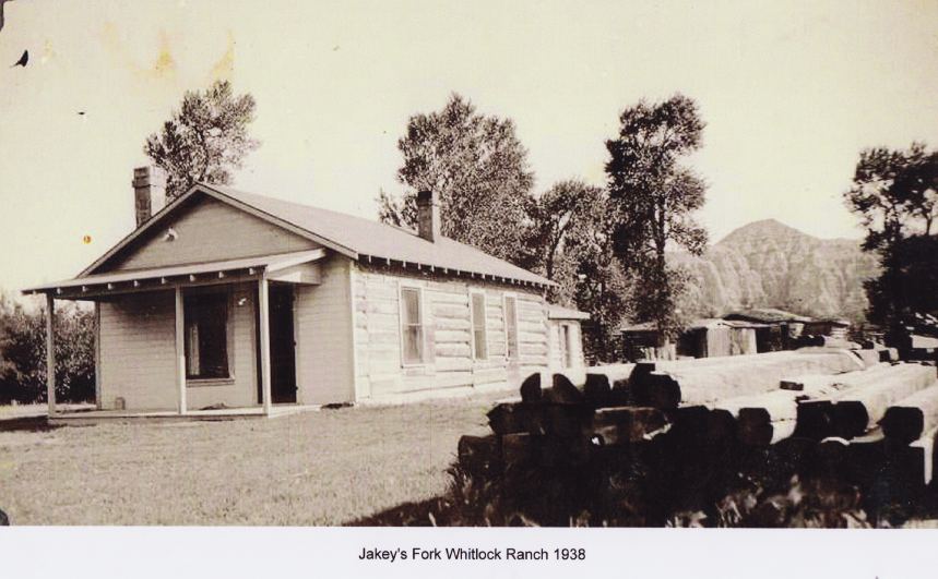"The Homestead cabin ""Wilcox Ranch"" when it was the managers house for a cattle operation. 1938"