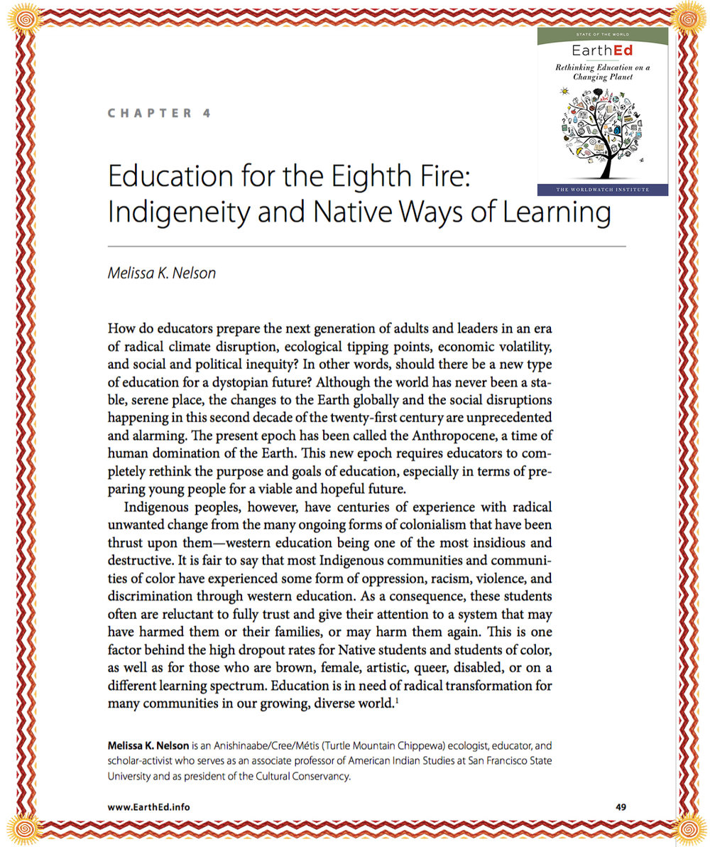 Nelson, 2017 - Education for the Eigth Fire: Indigeneity and Native Ways of Learning