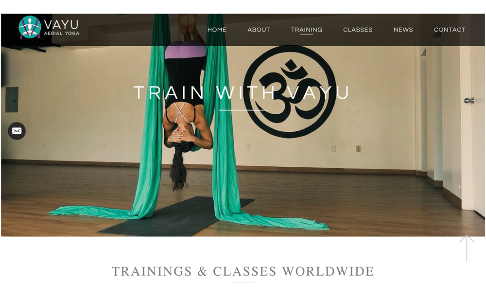 Vayu Aerial Yoga - Site Setup, Customization, Image Curation, Photography, Management