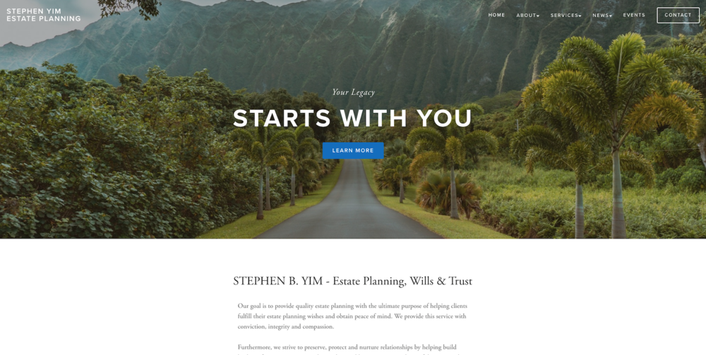 Stephen Yim Estate Planning - Site Migration & Customization, Image Curation