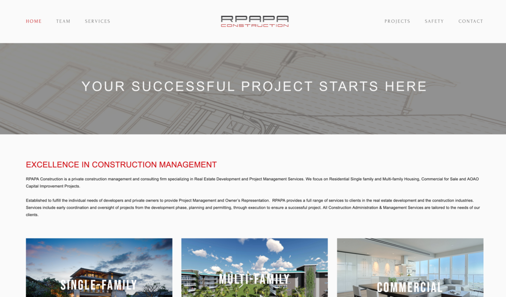 RPAPA Construction - Site Transfer, Re-design & Customization