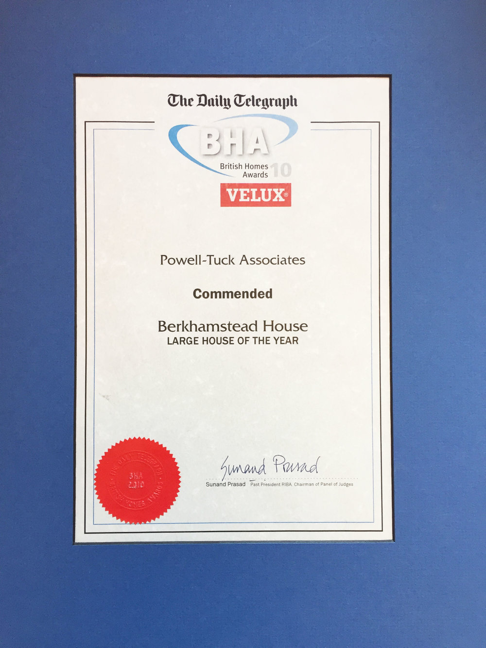 British Homes Awards,Commended,Large House of the Year - Berkhamstead House, 2010