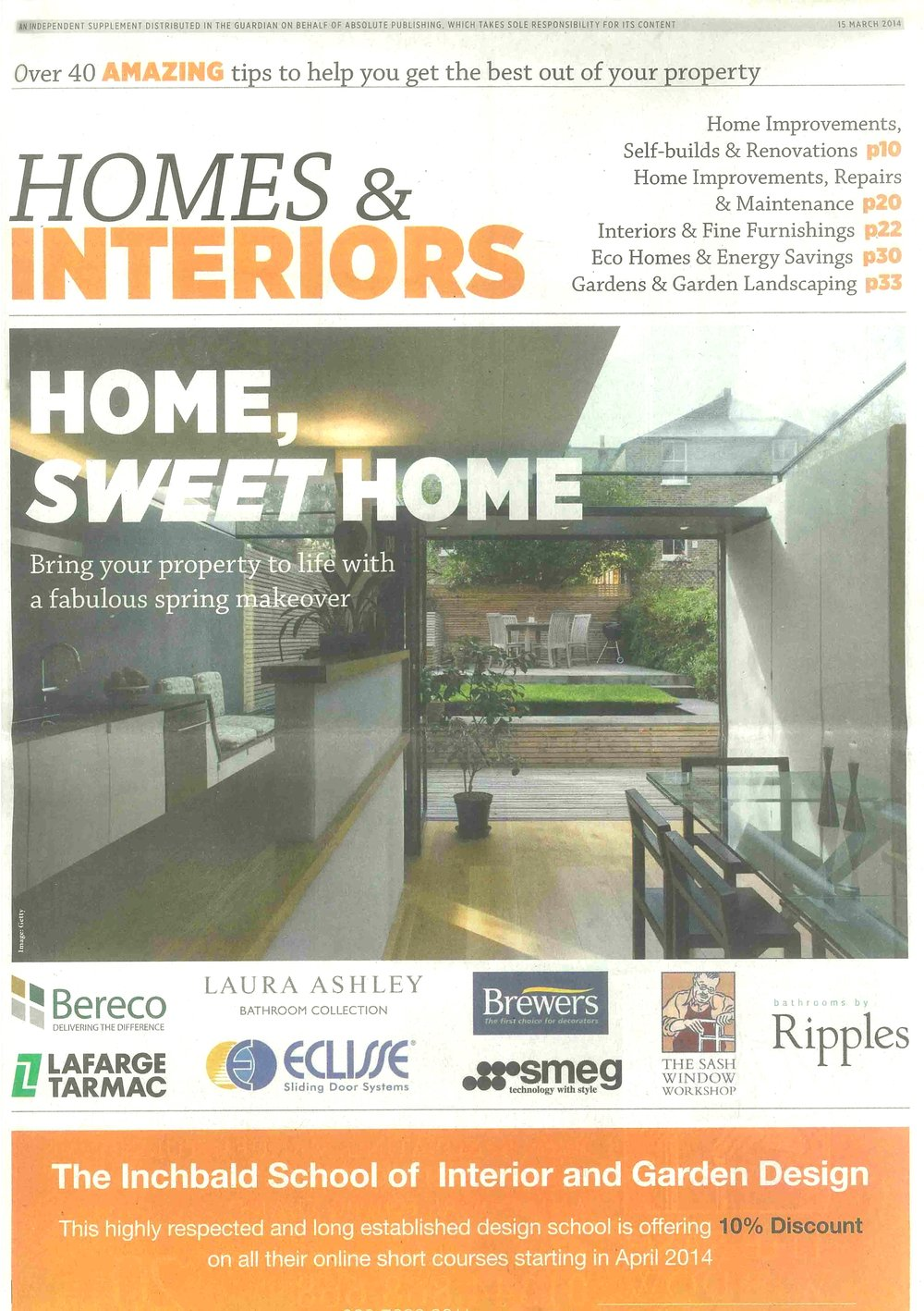 Homes & Interiors, March 2014 -