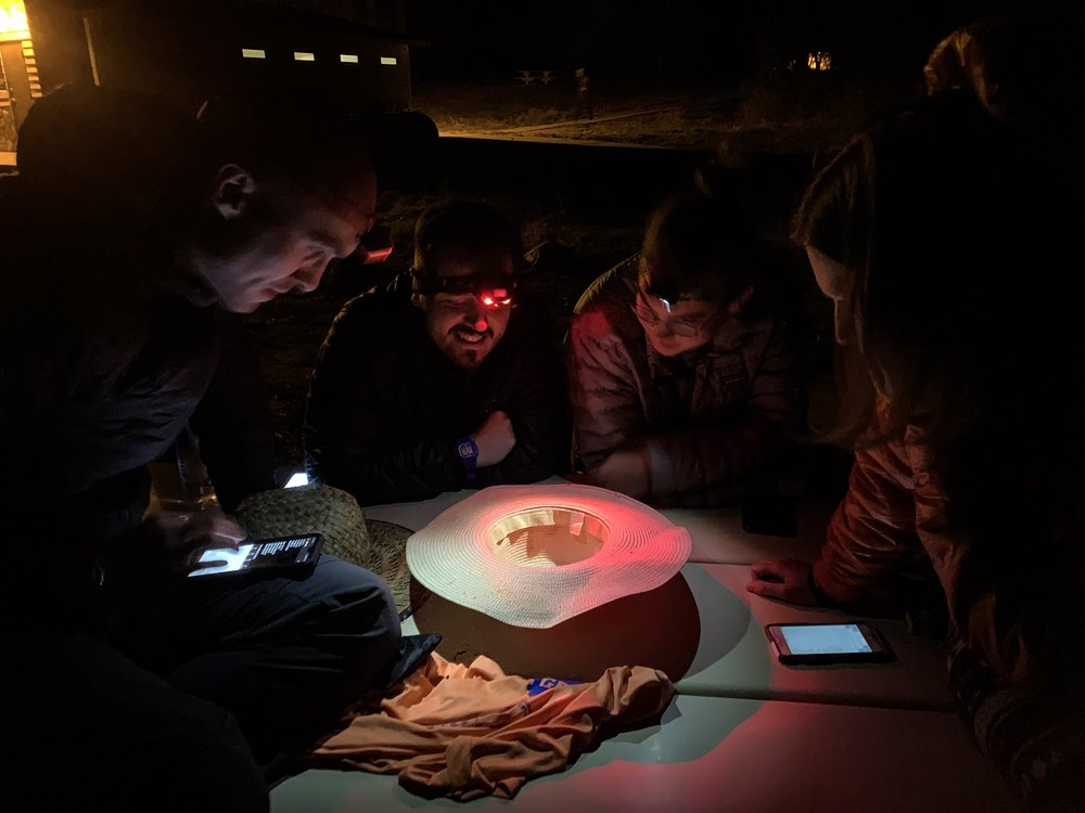 We used an abandoned sun hat to play Yahtzee in under torchlight.