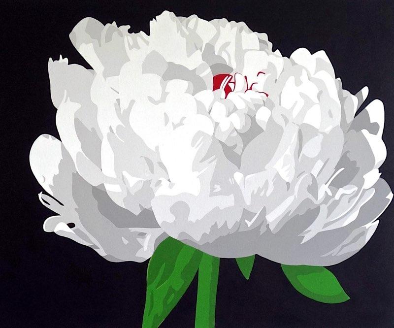 "Moonlit Peony, acrylic on canvas, 30"" x 36"""