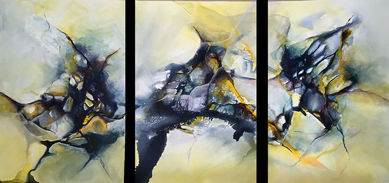 "A Common Thread - Triptych, acrylic on canvas, 30"" x 72"" (SOLD)"